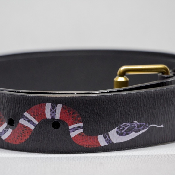 f3782a176e869 Gucci Men s Black Leather King Snake Belt